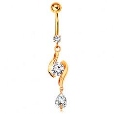 Zlatý 585 piercing do pupíku - dvě lesklé vlnky se zirkonem uprostřed a slza