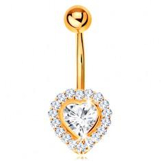 Piercing do bříška ve žlutém 14K zlatě - čiré zirkonové srdce lemované zirkonky