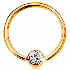 Zlatý 14K piercing - lesklý kroužek a kulička se vsazeným zirkonem čiré barvy, 14 mm