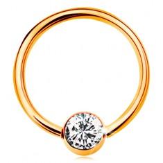 Zlatý piercing 585 - kroužek s kuličkou a vsazeným čirým zirkonem, 12 mm