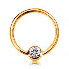 Piercing ve žlutém zlatě 585 - lesklý kroužek s kuličkou a vsazeným čirým zirkonem, 10 mm