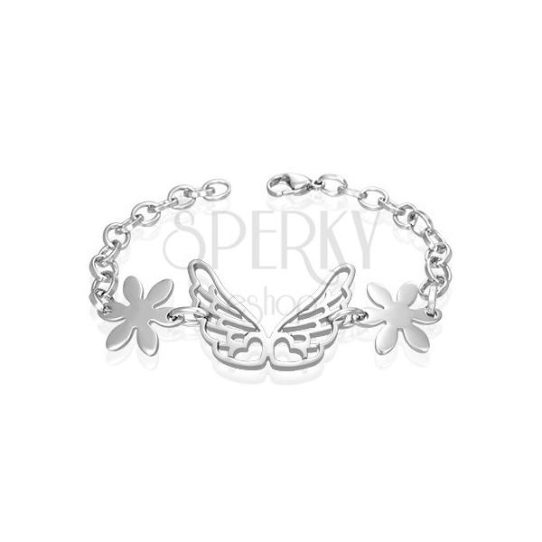 Ocelový náramek andělská křídla, kvítky