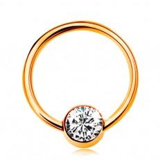 Piercing ve žlutém 14K zlatě - lesklý kroužek s kuličkou a čirým zirkonem, 10 mm