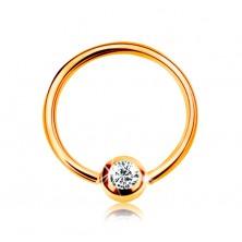 Zlatý 14K piercing - lesklý kroužek a kulička se vsazeným zirkonem čiré barvy, 8 mm