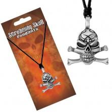 Šňůrkový náhrdelník, patinovaný přívěsek ve tvaru lebky s překříženými kostmi