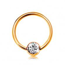 Piercing ze žlutého 14K zlata - malý kroužek s kuličkou, čirý zirkon, 8 mm
