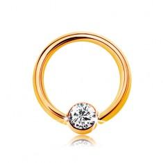 Piercing ve žlutém 14K zlatě - malý kroužek s kuličkou a čirým zirkonem, 6 mm
