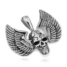 Přívěsek z chirurgické oceli, stříbrná barva, patinovaná lebka s křídly