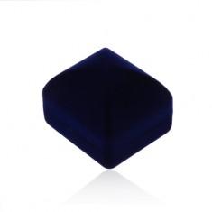 Sametová krabička na prsten nebo náušnice, tmavě modrý vypouklý povrch
