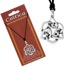 Šňůrkový náhrdelník, patinovaný přívěsek stříbrné barvy - keltský uzel