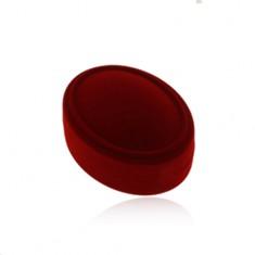 Bordó sametová oválná krabička na set, náušnice nebo dva prsteny