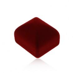 Krabička na prsten nebo náušnice, sametový povrch v bordó odstínu