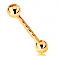 Piercing ze žlutého 9K zlata - činka, dvě lesklé hladké kuličky, 16 mm