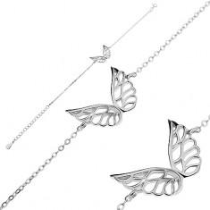 Náramek ze stříbra 925 - vyřezávaná andělská křídla, řetízek z oválných oček