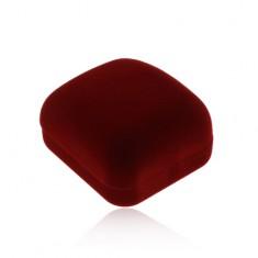Sametová krabička na prsteny nebo náušnice, barva bordó, zkosená horní část