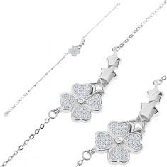 Náramek ze stříbra 925, zirkonový čtyřlístek a oblouk ze tří hvězdiček
