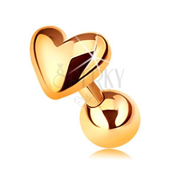3472a81a7 Piercing ze zlata 375 do tragu ucha - lesklé vypouklé srdíčko, 5 mm ...