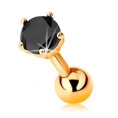 Piercing ve žlutém 14K zlatě - do tragu ucha, kulička a černý zirkon, 5 mm