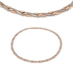 Magnetický náhrdelník z oceli 316L, měděná a stříbrná barva, šikmé proužky