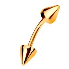 Zlatý piercing 585 - zahnutá činka ukončená dvěma kuželovitými hroty, 8 mm
