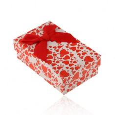 Bíločervená krabička na set nebo náhrdelník, potisk se srdíčky, mašle