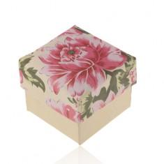 Papírová krabička na prsten nebo náušnice, perleťovo-béžová s růžovým květem