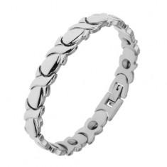 "Rhodiovaný magnetický náramek z oceli stříbrné barvy, články ""X"" a slzičky"