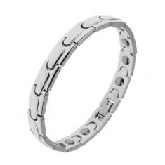 """Náramek z chirurgické oceli - magnetický, lesklé články """"Y"""", stříbrná barva"""