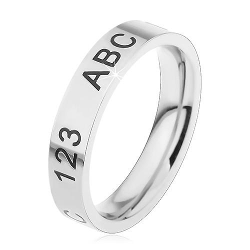 Levně Prsten z chirurgické oceli ve stříbrném odstínu, gravírované číslice a písmena - Velikost: 45