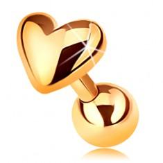 Piercing ze zlata 585 do tragu ucha - lesklé vypouklé srdíčko, 5 mm
