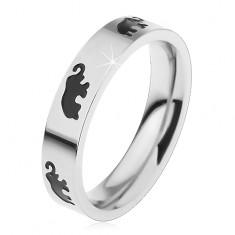 Dětský ocelový prsten stříbrné barvy, černí glazovaní sloni, vysoký lesk