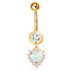 Zlatý 14K piercing do pupíku - kulatý zirkon v objímce, opálové srdce s čirým lemem GG184.42 Šperky eshop