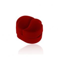 Sametová krabička červené barvy na dva prsteny nebo náušnice, zahnuté kapky