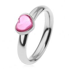 Ocelový prsten pro děti, blýskavé zirkonové srdíčko v růžovém odstínu