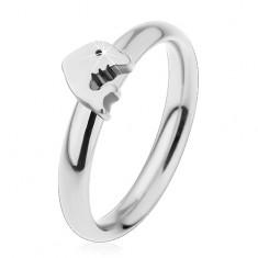 Prsten z chirurgické oceli, stříbrný odstín, malý lesklý delfín