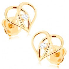 Puzetové náušnice ze zlata 585 - kontura srdce s překříženými liniemi, zirkon