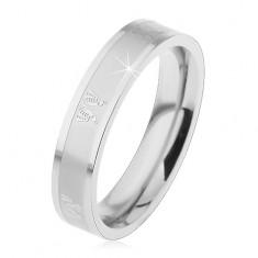 Ocelový prsten pro děti, lesklo-matný povrch stříbrné barvy, motýlci