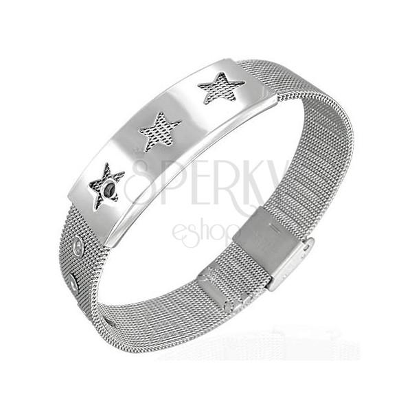Síťovaný ocelový náramek - hvězdy