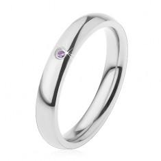 Prsten pro děti, ocel 316L stříbrné barvy, světle fialový zirkonek, zaoblená ramena