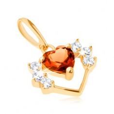 Přívěsek ze žlutého 14K zlata - obrys srdce se zirkony a broušené oranžové srdíčko