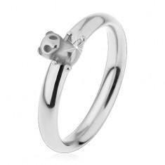 Ocelový prsten pro děti, stříbrný odstín, malý méďa, jemně vypouklá ramena