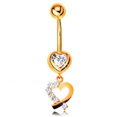 Zlatý 14K piercing do bříška - zirkonové srdce, obrys srdíčka s třpytivou polovinou