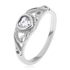 Prsten pro děti, ocel 316L, čiré zirkonové srdíčko, rozdělená ramena s ornamenty