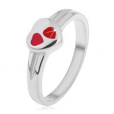 Dětský prsten z chirurgické oceli, stříbrná barva, srdce s červenou glazurou