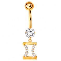 Zlatý 585 piercing do bříška - čirý zirkon, znamení zvěrokruhu - BLÍŽENCI