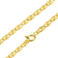 Zlatý řetízek 585 - ploché podlouhlé články, paprskovité rýhování, 540 mm