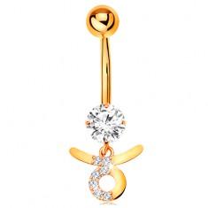 Piercing do pupiku ve žlutém 14K zlatě - čirý zirkon, symbol znamení BÝK