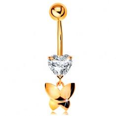 Zlatý 585 piercing do pupíku - čiré broušené srdíčko, visící lesklý motýl