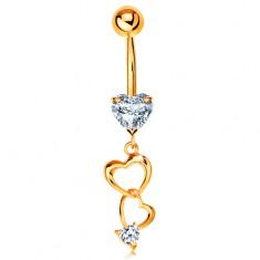 Zlatý 585 piercing do bříška - kontury srdcí a čirá zirkonová srdíčka
