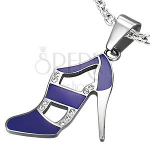 Přívěsek z oceli - taneční botka, fialová